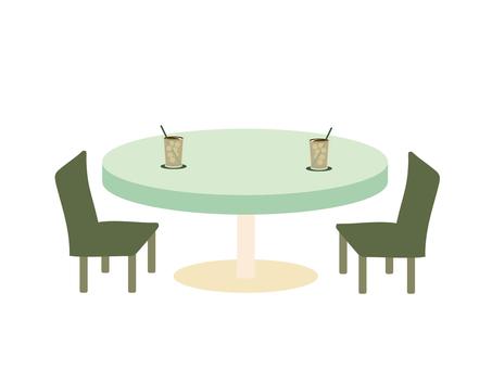 카페 테이블 ice coffee
