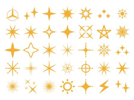 Glitter light icon set