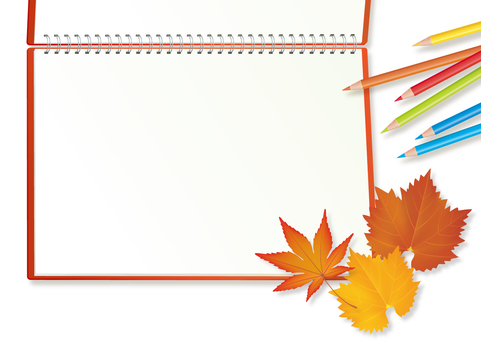 Sketchbook and fallen leaves