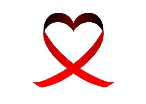 Heart ribbon (red)