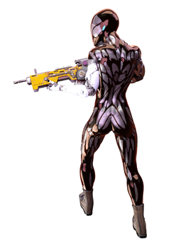 Android holding a gun