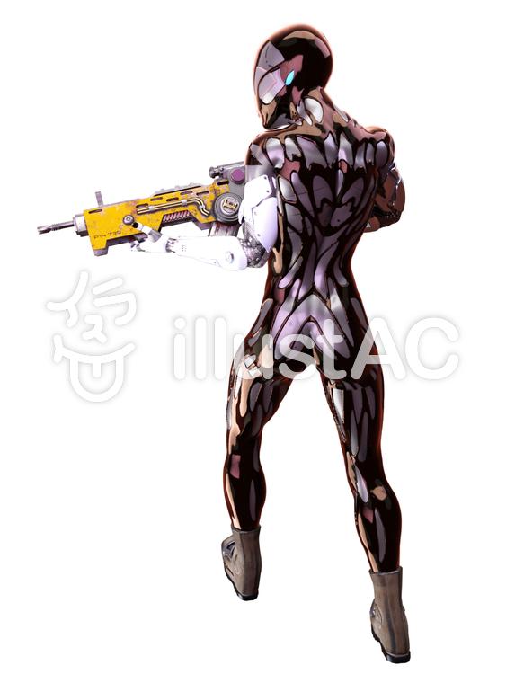 銃を構えるアンドロイドのイラスト
