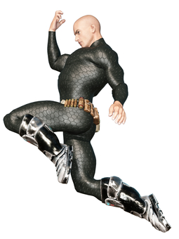 Science Fiction Muscle Fighter Jump Knee