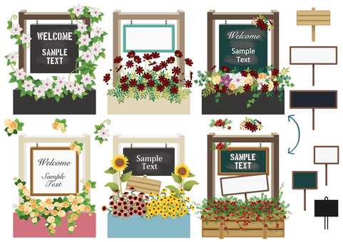 Flower planter with a welcome board
