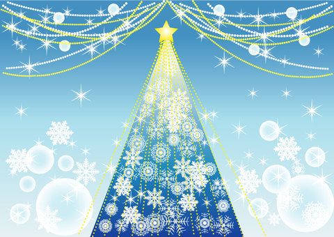 Christmas tree blue illumination