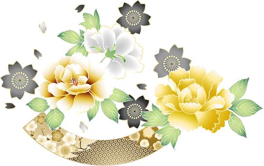 ai Japanese style botan and cherry blossoms luxury set