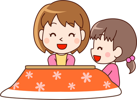 Parent and child relaxing with a kotatsu