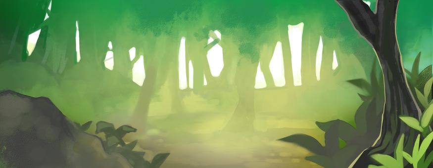 나뭇잎 사이로 비치는 햇빛의 숲