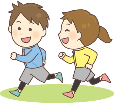 Men and women jogging