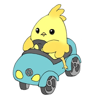 A small bird on a blue car