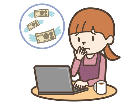 Young housewife personal computer spending