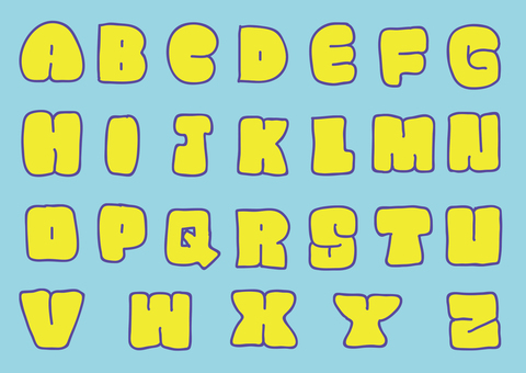 Thick capital letter alphabet set