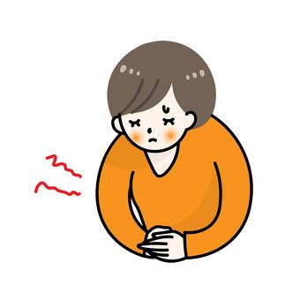 복통 아픈 컨디션 불량 감기 흠 여성