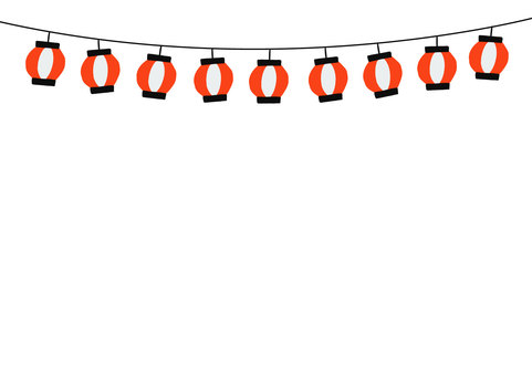 【祭】提灯の背景フレーム
