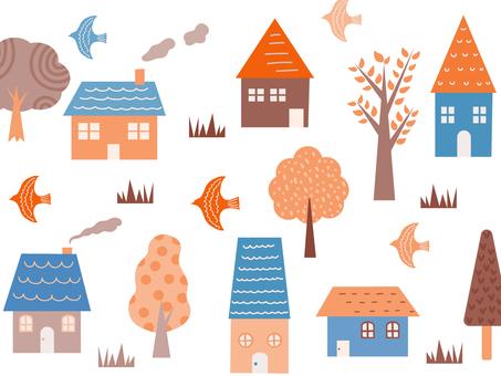 집과 나무 배경 소재