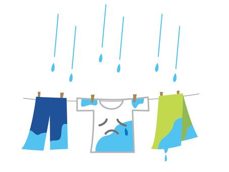 洗濯物 キャラクター 雨の日 梅雨