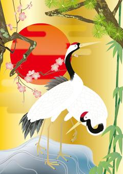 Kimono pattern _ Shochiku _ _ cranes _ gold