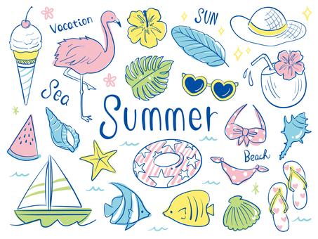 夏の手書きラフセット
