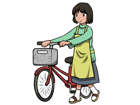 Housewife walking with bicycle