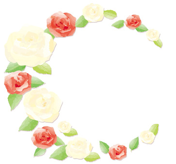Circle frame of red and white roses Watercolor style