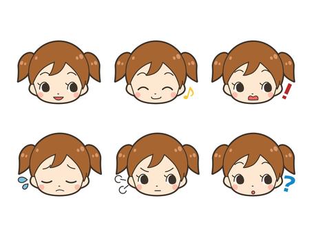 Girl illustration facial expression set