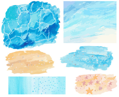 Watercolor texture sea set
