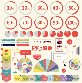 Pie charts and other infographics set