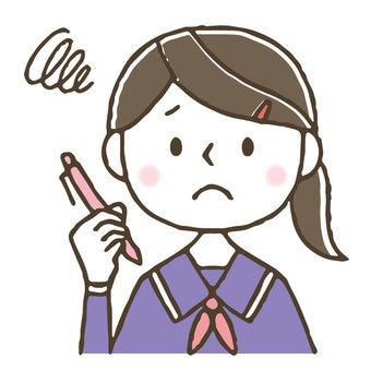 Cute girl / study / worries / worries / student