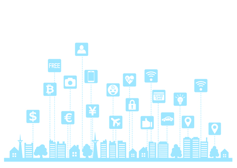 IoT and smart city icon silhouette