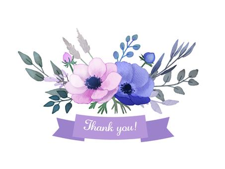 水彩手描きお花のメッセージカード