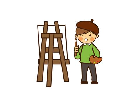 Autumn artist painting children