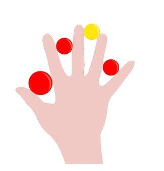 球夾在手指