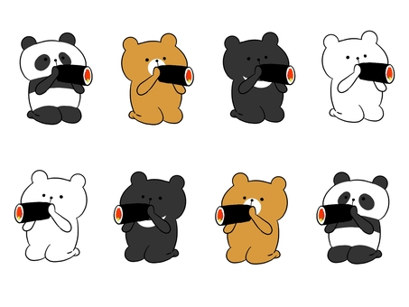 Bears sitting straight and eating Ehomaki