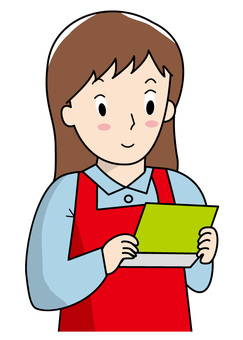 A housewife watching a passbook
