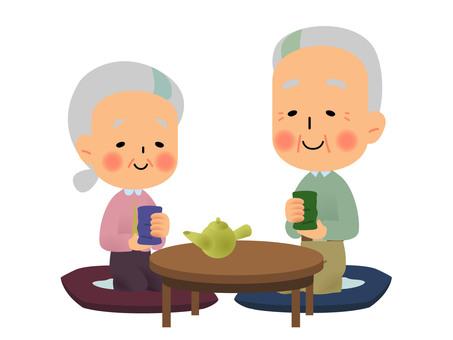 Grandpa granny drinking tea