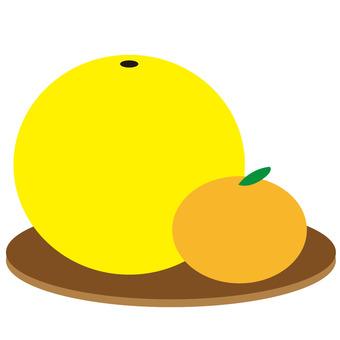 Illustration style late white and mandarin oranges