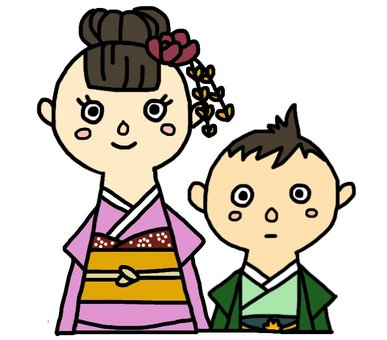 Shichigosan, a seven-year-old girl and a five-year old boy