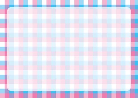 깅엄 체크 프레임 핑크 × 하늘색