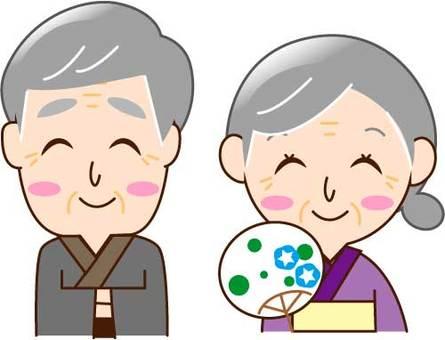 Elderly couple, yukata