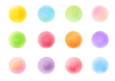 Colorful watercolor circle icon set