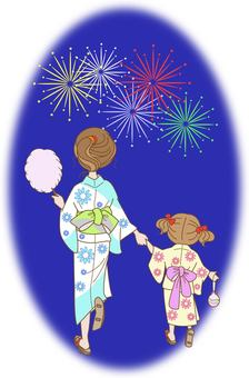 Parent and child seeing fireworks