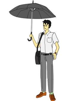 우산을 쓰는 직장인