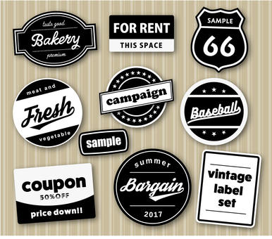 Vintage style label set illustration