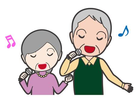 Singing old gentleman and old women upper body