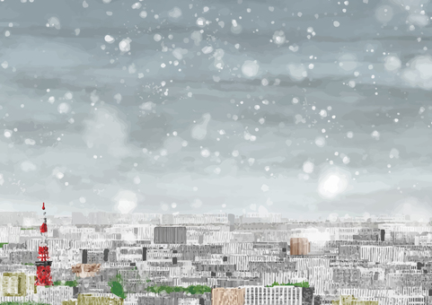 Distant view of the city center (snow)