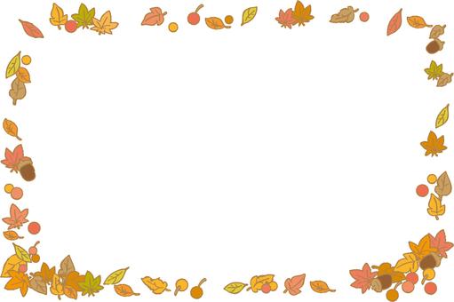 가을 잎과 열매의 프레임 사각형