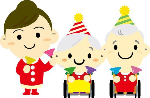 Elderly people with wheelchairs enjoying Christmas