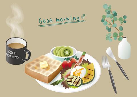 Morning plate illustration set