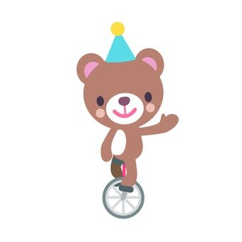 Bear riding a unicycle