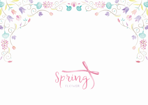 Spring background frame 018 Flower watercolor